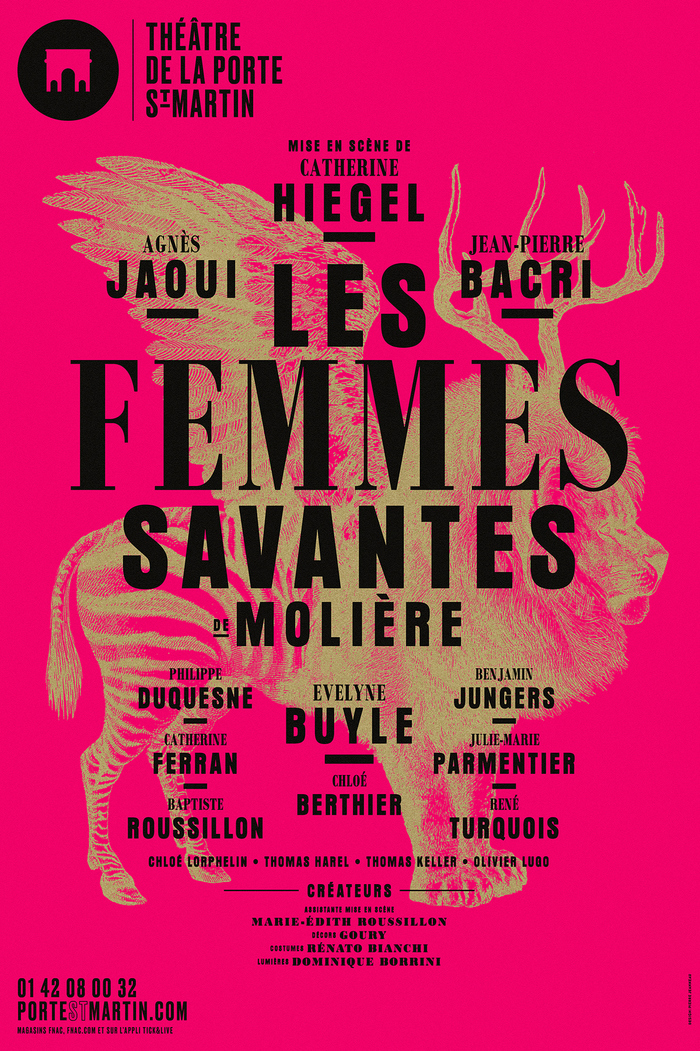 Les Femmes Savantes — Bodoni MT Black and Cond. Bold paired with Aura, a version of Anzeigen-Grotesk.