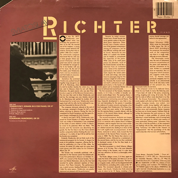The liner notes are set in three columns that are shaped like the white keys of a piano.