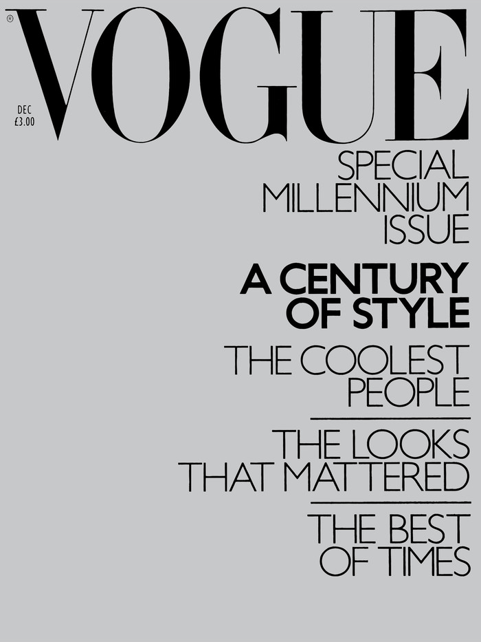 The first issue to feature Gill Sans Monoline was the December 1999 special Millennium issue which featured a silver foil mirrored cover and no model, only the typeface.
