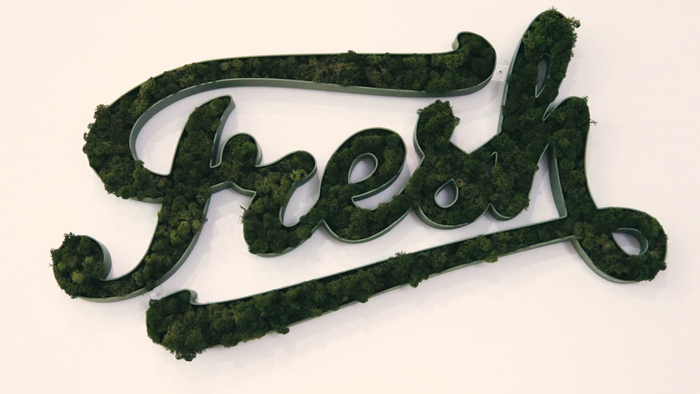 Moss sign made with modified Gelato Script.