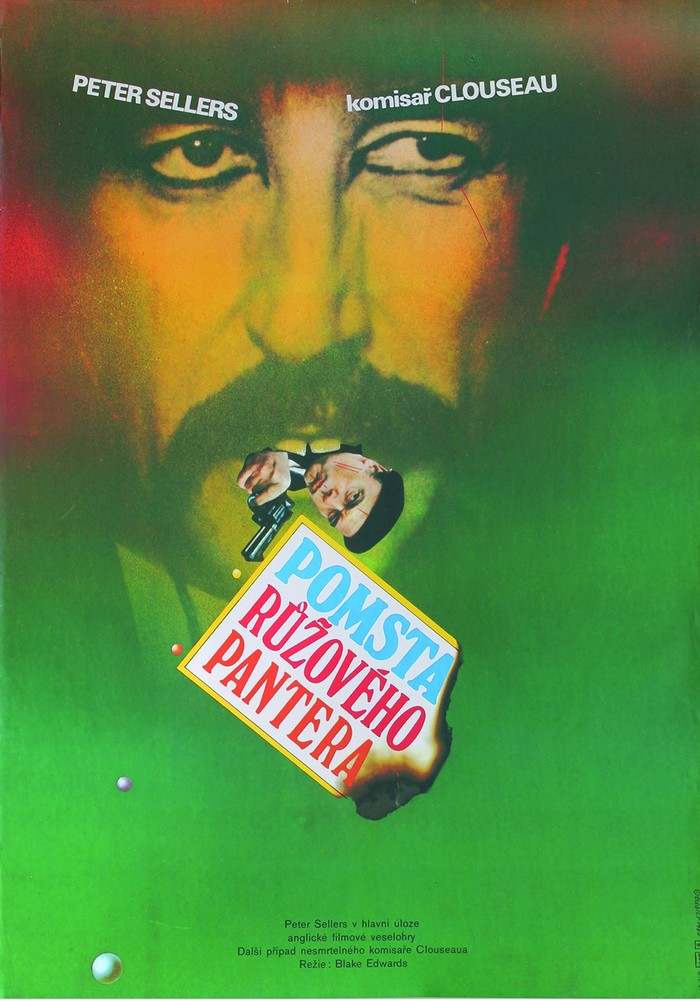 Pomsta ružového pantera / Revenge of the Pink Panther, 1980. More Windsor, combined with Univers Bold. Don't miss the delicately cut-out teeth on Peter Sellers.