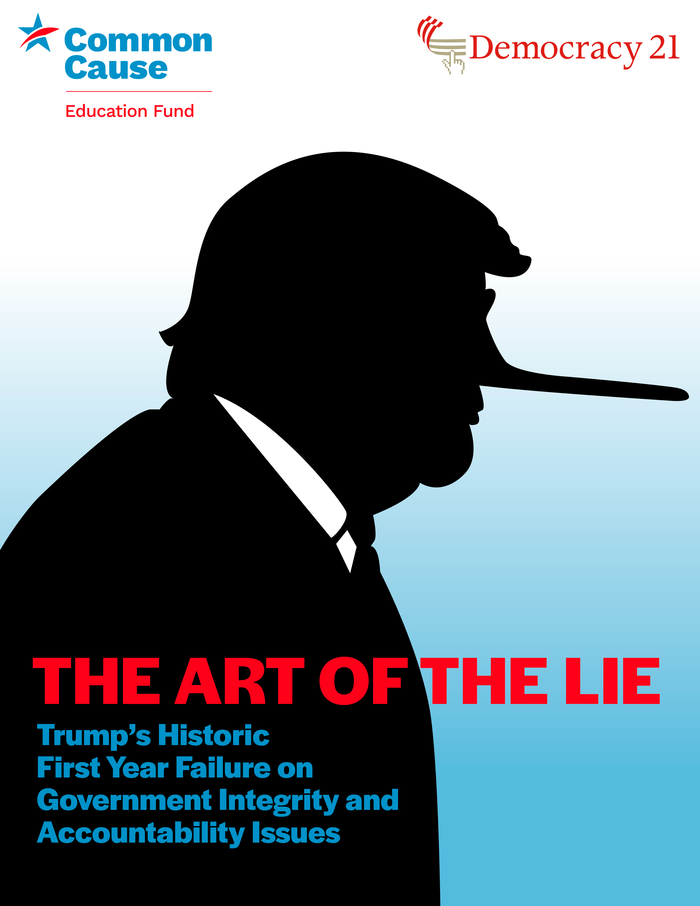 "Cover of ""The Art of the Lie"", a report on ""Trump's Historic First Year Failure on Government Integrity and Accountability Issues."""