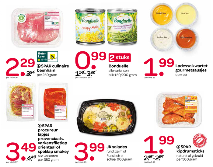 "Detail of a page in a leaflet advertising special offers. SPAR uses a customized version of Omnes where the alternate ""long-nosed"" figure 1 has been made the default."