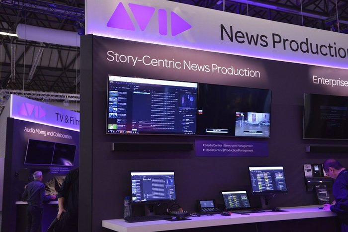 "Avid booth at NAB Show NY. ""News Production"" uses their custom Omnes version with conventional terminals."