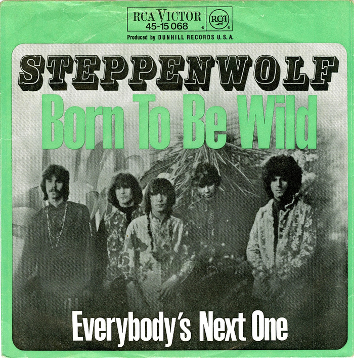 """""""Born To Be Wild"""" single (RCA, Germany, 1968), with a yet unidentified compressed Grotesque."""