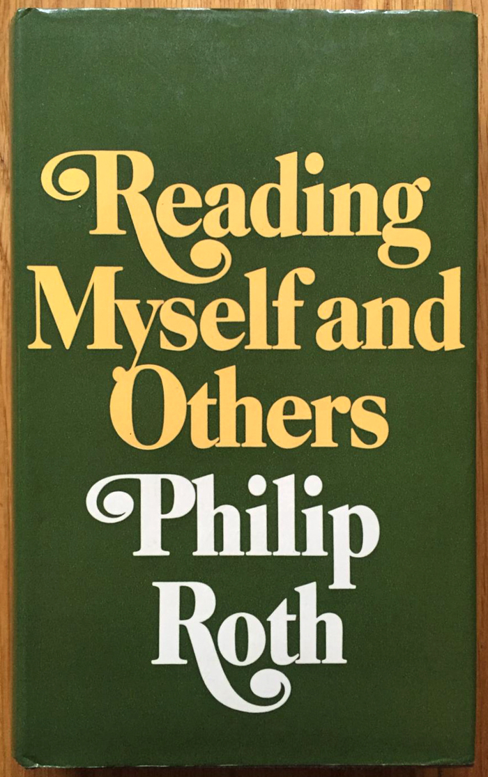 Reading Myself and Others, first UK edition, Jonathan Cape, 1975. The letterforms are the same as on the US jacket, but the words were rearranged. The initial R got more legroom, the y in turn now crashes into the O.