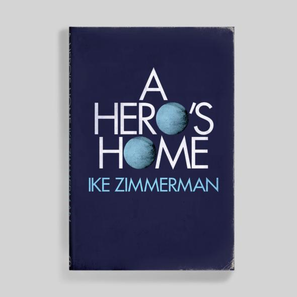 Ike Zimmerman's A Hero's Home, featuring Futura caps with the Os substituted by orbs. Probably inspired by this cover for First Flights to the Moon (1970)?