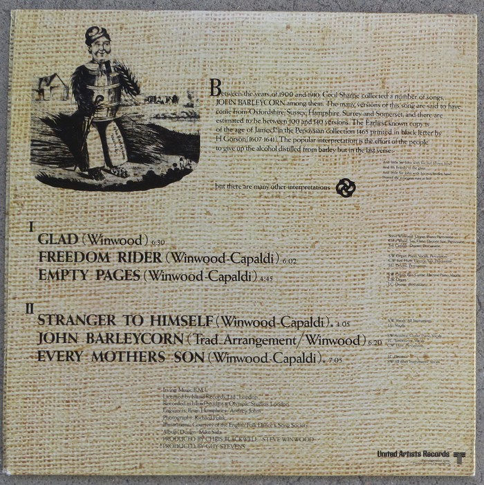 Back cover, United Artists Records