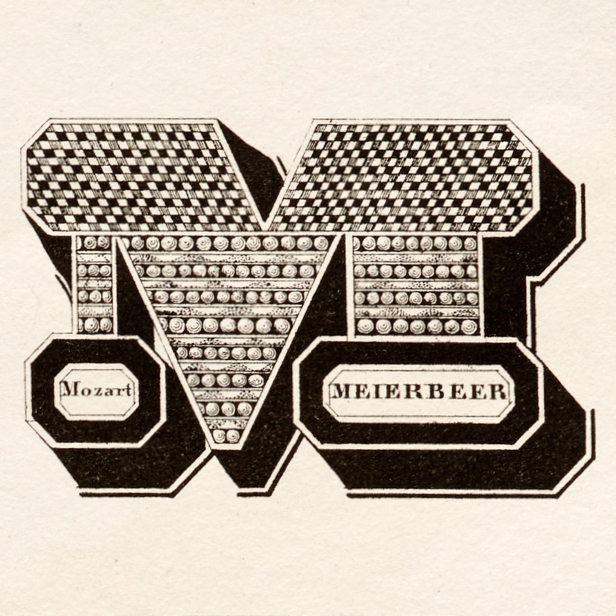 For comparison: The M from Midolle's original alphabet. The bottom third of each letter shows surnames of famous writers and musicians which begin with the letter: M as in Mozart and Meierbeer. Courtesy of Letterform Archive.