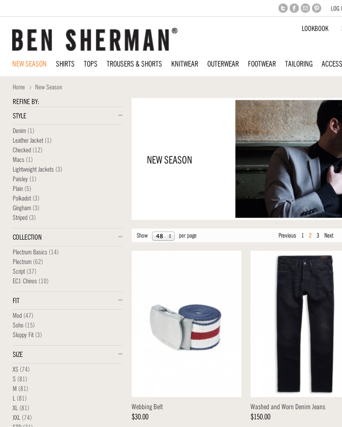 Ben Sherman website 4
