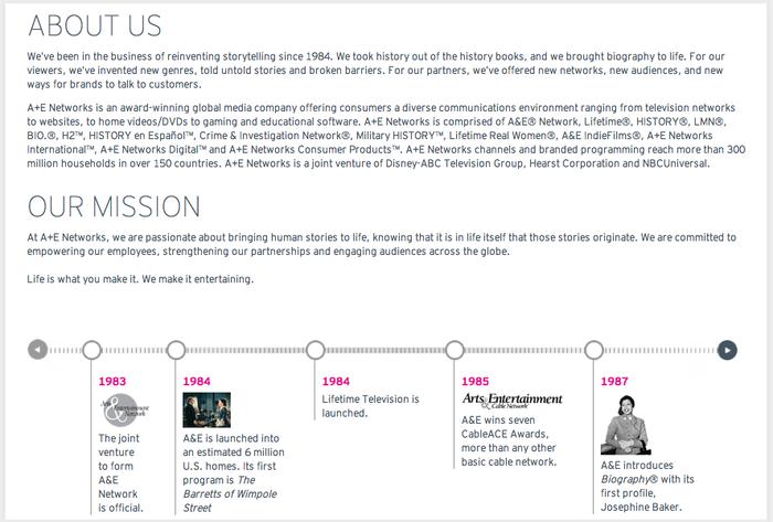 A & E networks Website 3