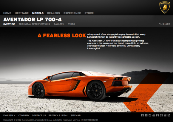 Lamborghini.com Website 2