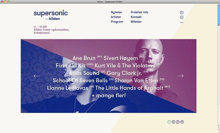 Website for supersonic—kilden festival.