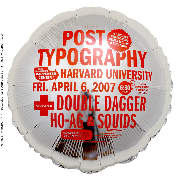 Post Typography lecture/performance balloons 2