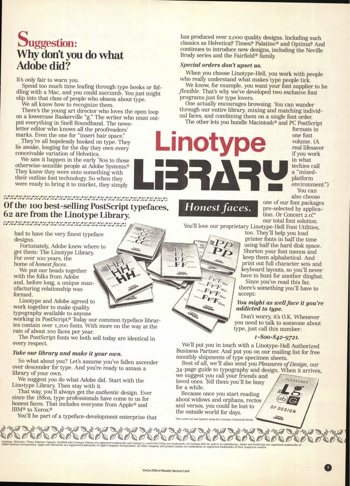 Linotype Library ad in U&lc, 1992 3