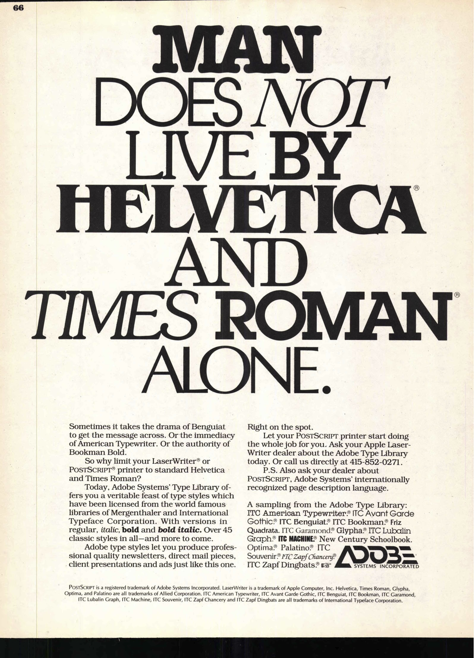 Adobe ad in U&lc, 1987 - Fonts In Use