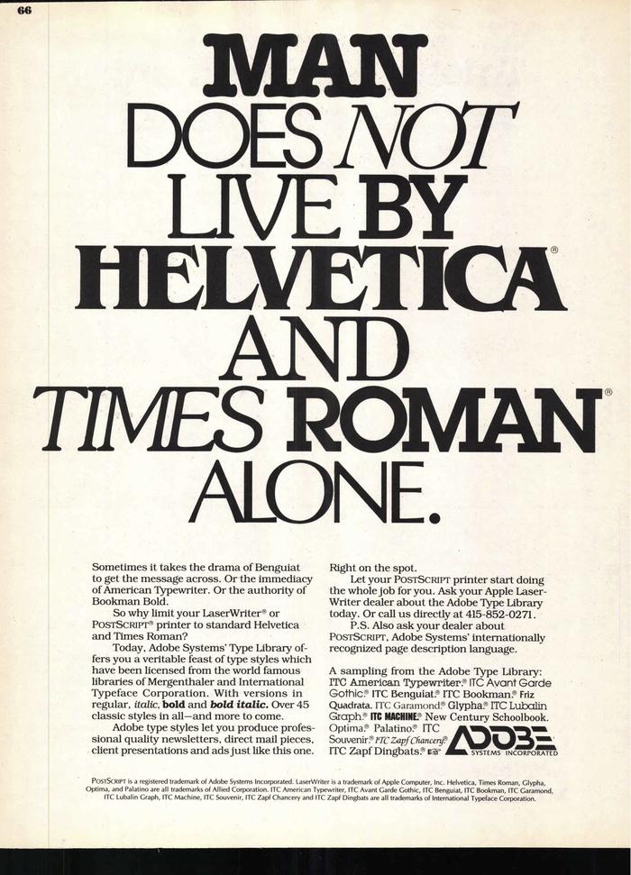 Adobe ad in U&lc, 1987