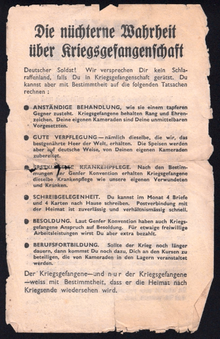 """Z.G.45 — """"Die nüchterne Wahrheit über Kriegsgefangenschaft"""" (The sober truth about being POW).  The blackletter is Schmalfette (Frankfurter) Fraktur, Monotype series 187, from c.1930. It is somewhat similar to the schmalfett cut of Bernhard-Fraktur (1912). Note that the heading makes correct use of the long ſ and round s as well as of the ch ligature. The text in Gill Sans doesn't use the eszett (ß) in """"verhältnismäßig"""", """"weiß"""", """"daß"""". The last paragraph features letterspacing for emphasis (""""nur"""")."""