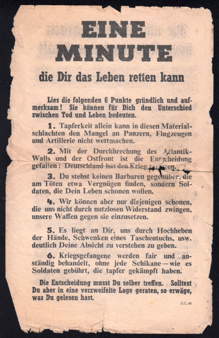 """Z.G.45 — """"Eine Minute die Dir das Leben retten kann"""" (One minute that can save your life). The typography combines Welt-Antiqua fett (Ludwig & Mayer, 1934) for headline and numbers with Rockwell 359 Bold Condensed (Monotype, 1935) and Times Bold (can you spot the odd g out?). The earlier Z.G.23 shows basically the same typographic setup. The text has been reset, though. The personal pronouns (""""Du"""", """"Dir"""", """"Dich"""") now are capitalized. The later Z.G.73K changes to Pabst Extra Bold with Cheltenham, Memphis and Gill Sans."""