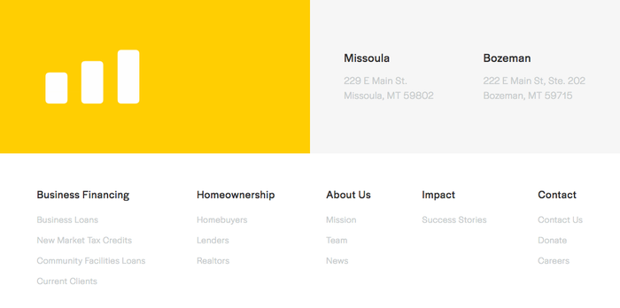 Halyard Bold is used for smaller headings, like in the website's footer.