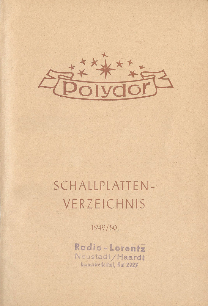 The half-title combines the newly introduced Polydor logo with Berthold-Grotesk mager (1928) and Ariston fett (1933).