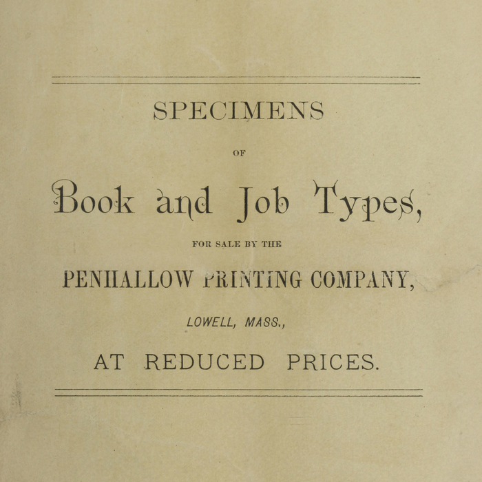 Specimens of Book and Job Types for Sale by the Penhallow Printing Company 1
