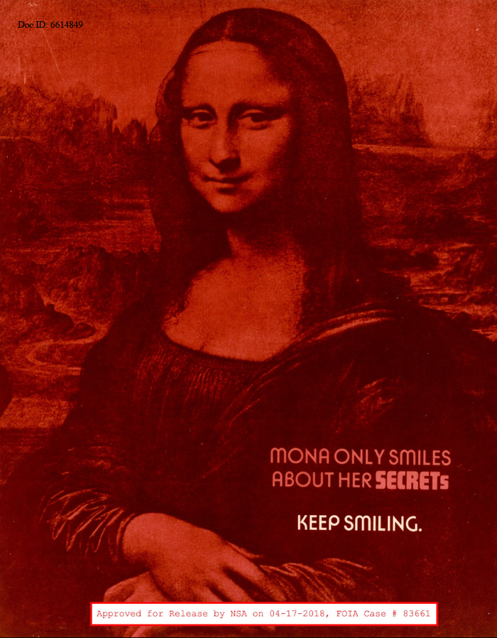 "Mona Lisa will not tell anyone why ""SECRETs"" ends with a lowercase s. Text set in Ronda (1970, with some alternate characters) and more Futura Display."