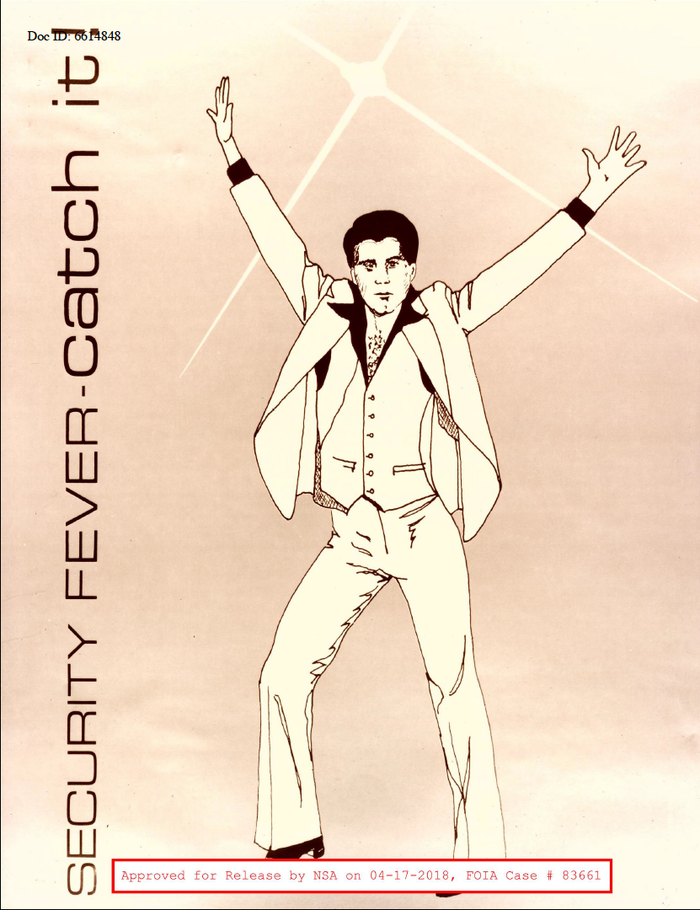 """""""Security fever"""" – poster from c. 1977 with rotated Eurostile (1962). Did everyone catch the reference?"""