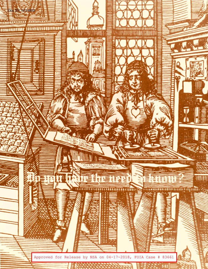 This scene from an early print shop is combined with a Textura that looks like a variety of Engravers Old English. The exact version hasn't been determined yet, but do you have the need to know? Note that the eyes of the fellow of the left have been modified to cast a suspicious look on his colleague on the right.