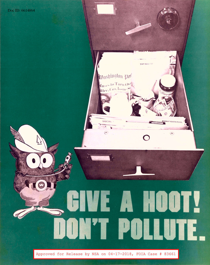 """""""Give a hoot! Don't pollute."""" The typeface is the bold weight of  ITC Machine (1970)."""