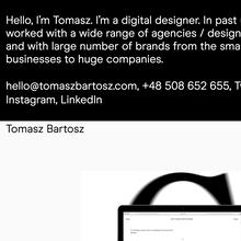 Tomasz Bartosz portfolio website