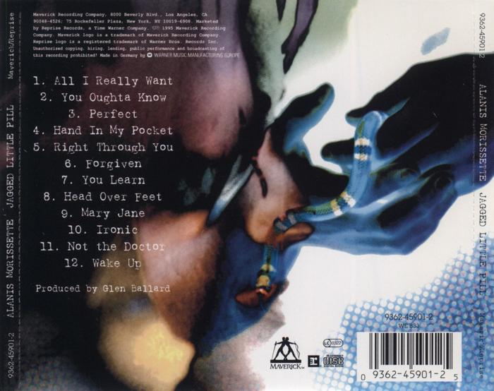 Jewel case inlay (back). The fine print is in another typewriter face that looks like Courier.