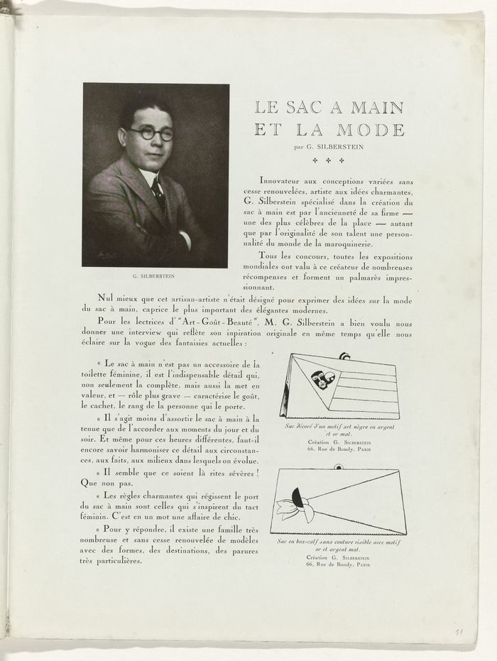 Page 51: Le sac à main et la mode – G. Silberstein discusses handbags. Title set in Moreau-le-jeune, an open style accompanying Cochin and issued by Peignot & Fils in 1913. It was copied by Barnhart Brothers & Spindler as Caslon Open Face.