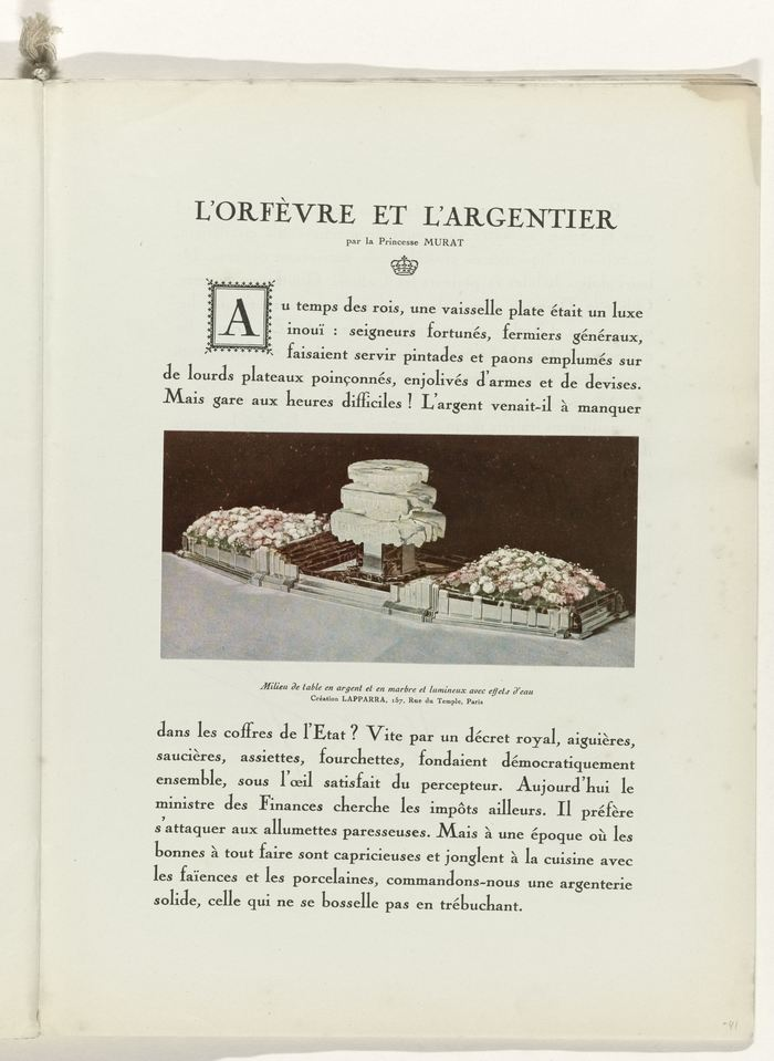 Page 41: a royal affair. An article by Princess Eugene Murat about luxury tableware, with a colored lithography of a solid marble and silver centerpiece for a dinner table.