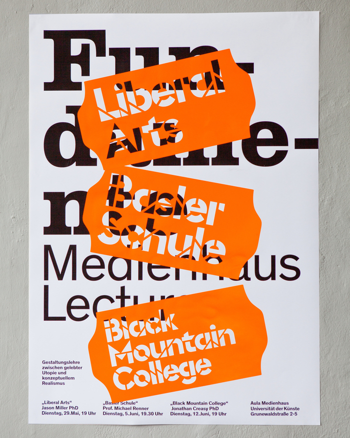 """Poster for the lecture series """"Fundamente"""" at the Medienhaus, May/June 2018. The design by Thomas Lehner uses Euclid Stencil as actual stencil on stylized price stickers, revealing the text in Clarendon Graphic and NBAkademie underneath."""