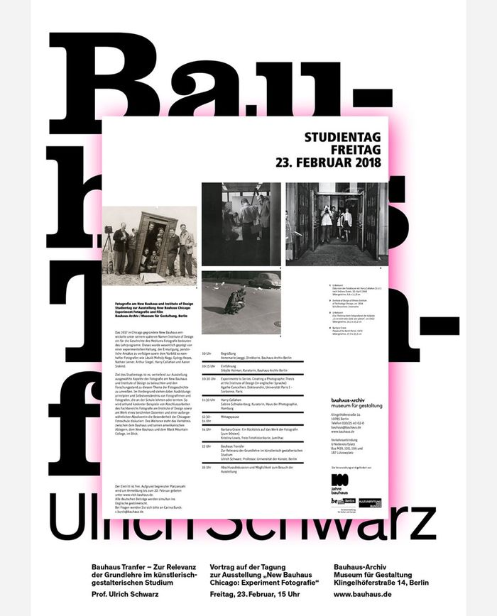 """Poster for a lecture by Ulrich Schwarz about """"Bauhaus Transfer"""" on the occasion of the exhibition New Bauhaus Chicago: Experiment Fotografie und Film at the Bauhaus-Archiv / Museum für Gestaltung, Berlin, February 2018. Design: Thomas Lehner"""