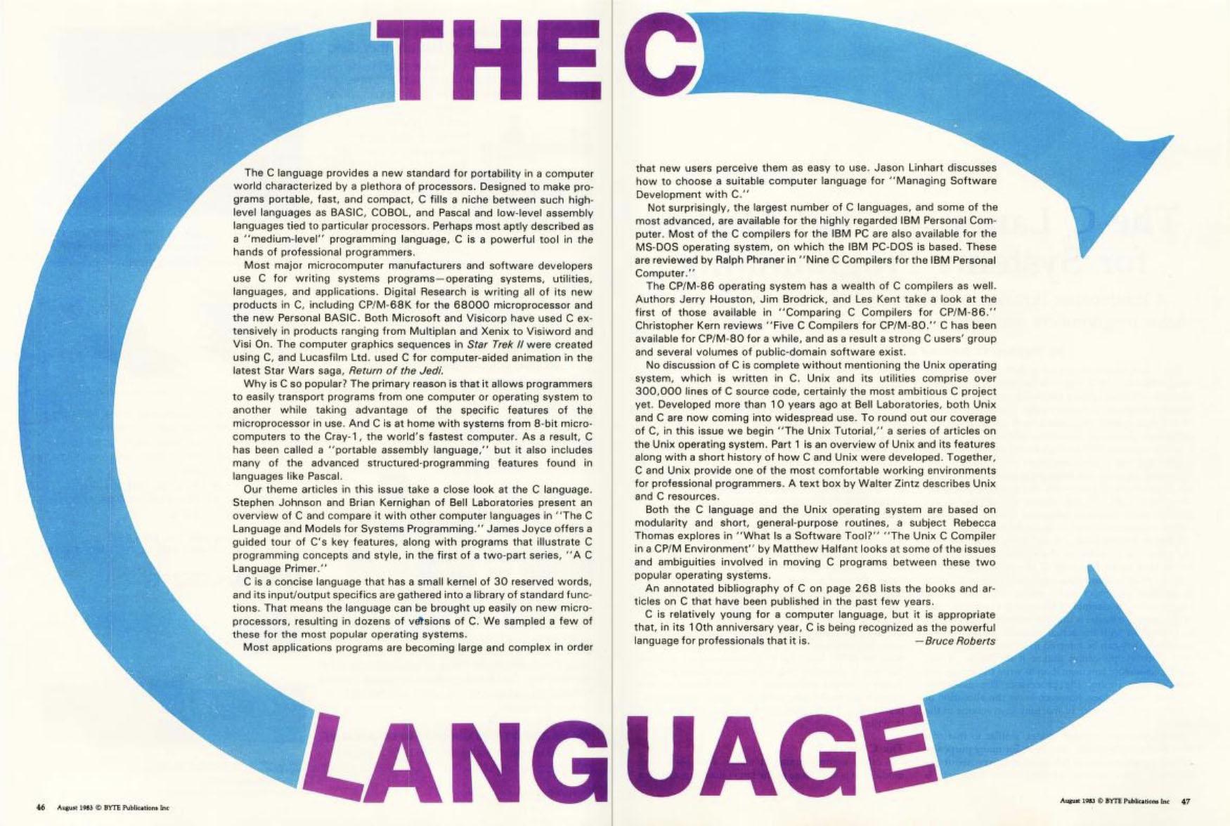 "Byte Magazine, Vol  8 No  8, Aug 1983,""The C Language"