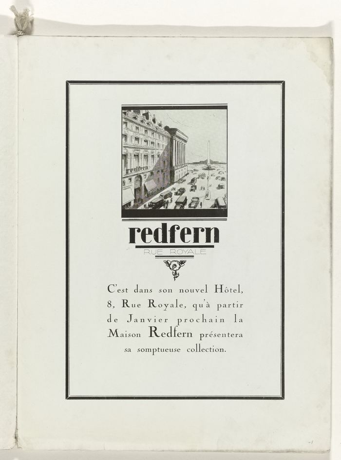 What's new: an advertisement on page 1. Custom lettering for the client (Redfern; Polyphème from 1910 has a similar lamppost r), with copy set in Nicholas Cochin, the magazine's default typeface.