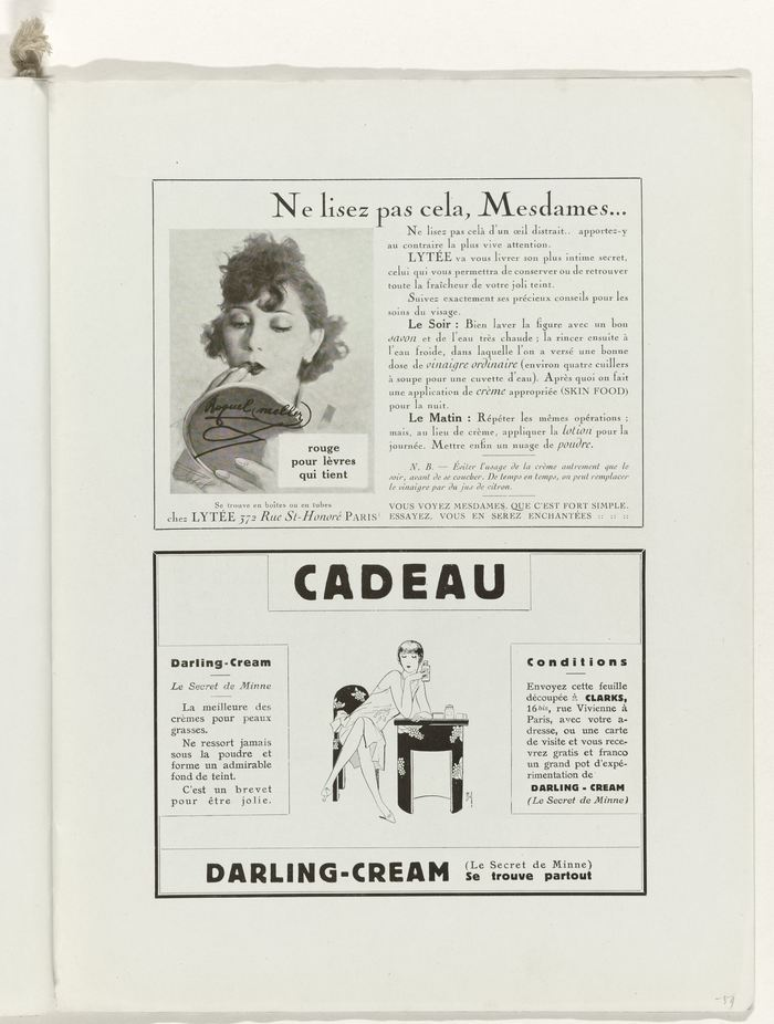 "Page 59, two advertisements, The top one mixes Cochin with Cheltenham, the ""Darling-Cream"" ad uses Block and a yet unidentified serif with Venetian e."