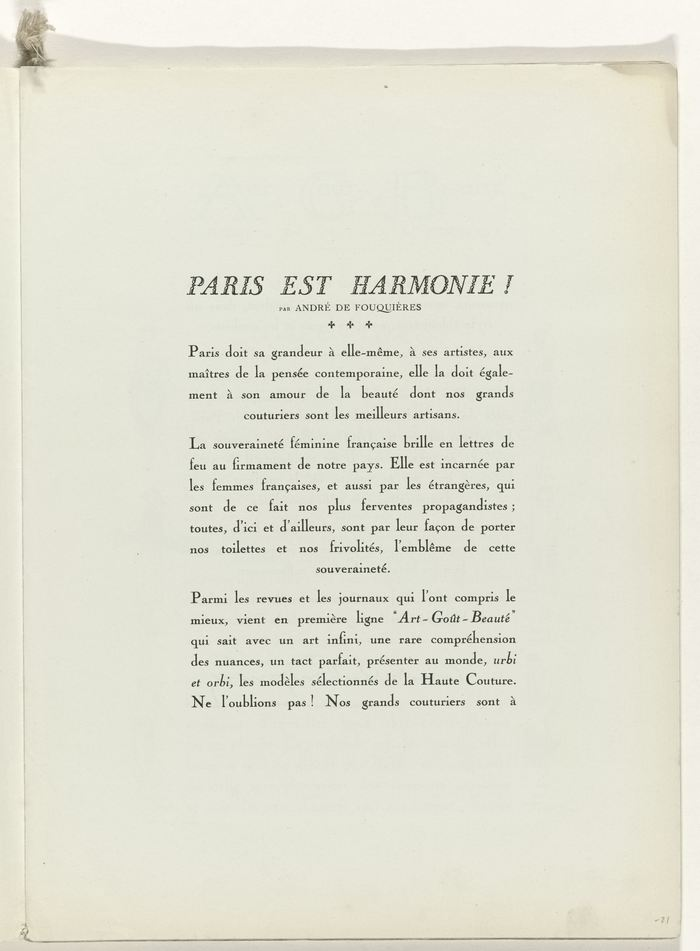 """Paris est Harmonie!"" Opening page for the main part of the magazine:  a series of illustrated single page style suggestions."