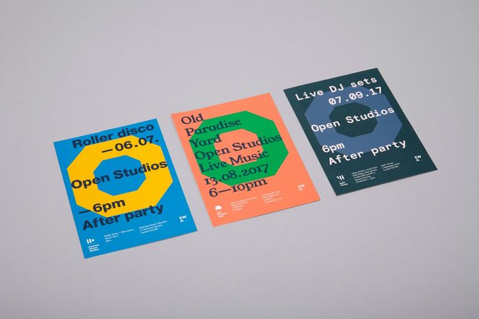 flyers for three Eat Work Art locations, all using the same layout, but a different colour palette and typeface selection. From left to right: Hackney Downs Studios with Neue Helvetica, Old Paradise Yard using Young Serif and Netil House with Basis Grot Mono.