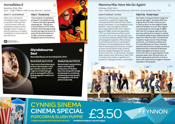Spread from the cinema program. Headings are in Omnes Semibold.