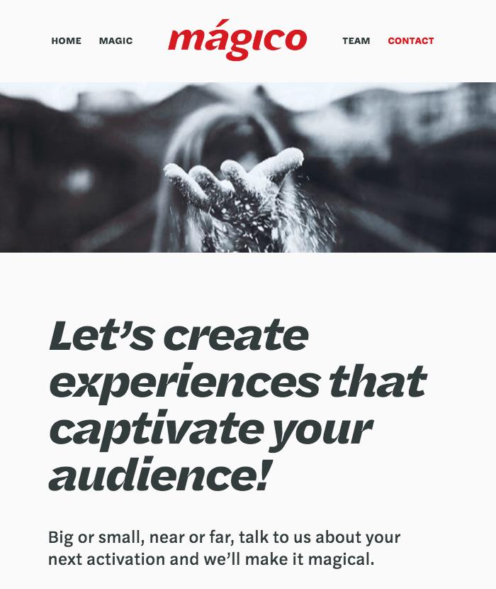 Mágico website 1