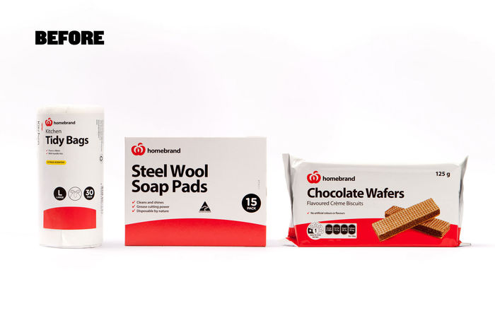 Packaging for Woolworths homebrand before the redesign.