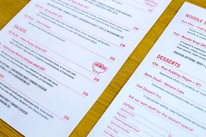 GT Pressura used to type-set riso printed menus with a matte laminate.