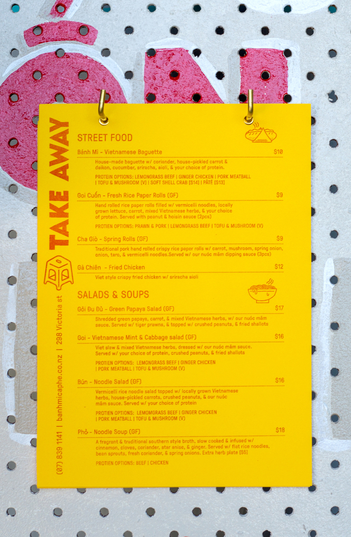 GT Pressura used to type-set riso printed take-away menus. Custom typeface for headings. Printed on yellow stock.