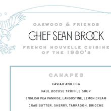 Chef Sean Brock Guest Menu