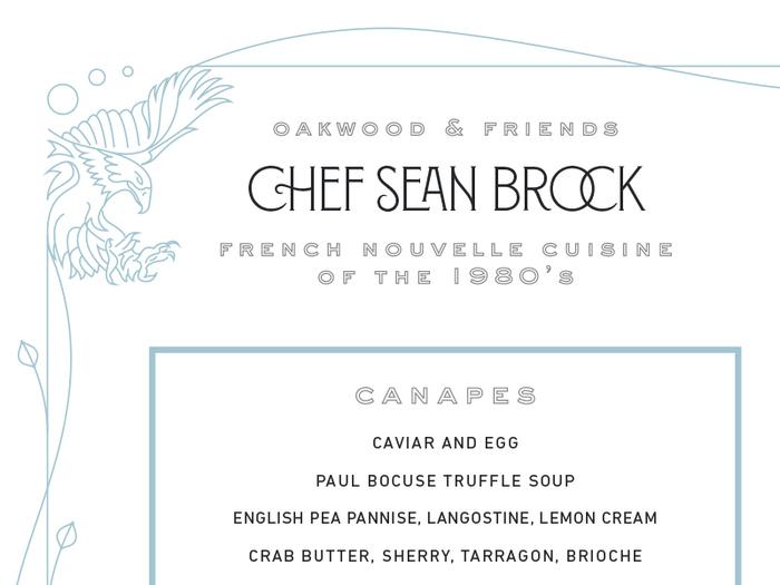 Chef Sean Brock Guest Menu 1