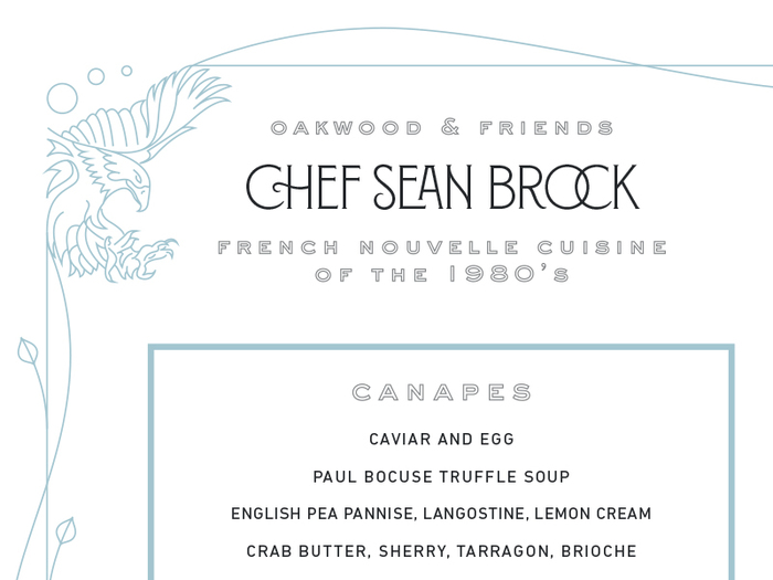 Chef Sean Brock Guest Menu 1