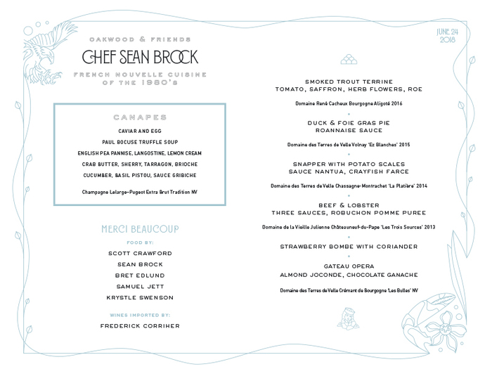 Chef Sean Brock Guest Menu 3